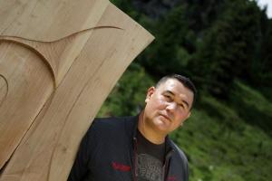 L'artista indiano del Canada Gordon Dick a RESPIRART foto Eugenio Del Pero