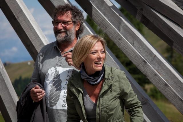 Aldo Pallaro e Maria Concetta Mattei sul palco del Teatro del Latemar creato da Marco Nones - RaspirArt Day 2015 PH Eugenio Del Pero